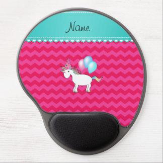 Custom name birthday unicorn hot pink chevrons gel mousepads