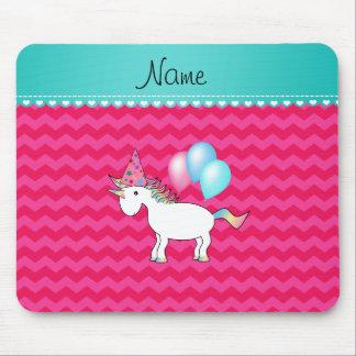Custom name birthday unicorn hot pink chevrons mousepad