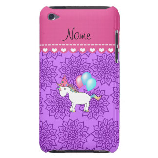 Custom name birthday unicorn pastel purple flowers Case-Mate iPod touch case