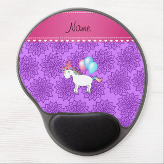 Custom name birthday unicorn pastel purple flowers gel mouse mat