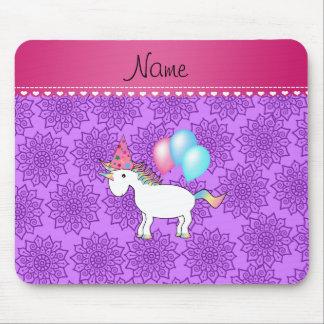 Custom name birthday unicorn pastel purple flowers mousepads