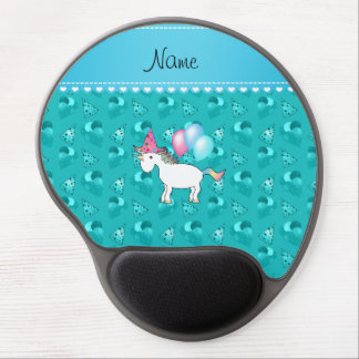 Custom name birthday unicorn turquoise party hats gel mouse mats