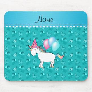 Custom name birthday unicorn turquoise party hats mousepad