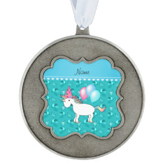 Custom name birthday unicorn turquoise party hats scalloped pewter ornament