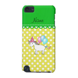 Custom name birthday unicorn yellow dots iPod touch (5th generation) covers
