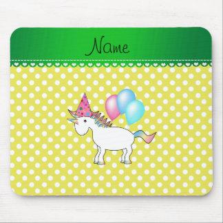 Custom name birthday unicorn yellow dots mousepads
