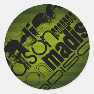 Custom Name, Black and Olive Green Round Sticker