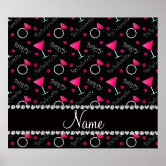 Custom name black bachelorette cocktails rings poster