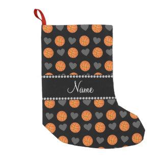 Custom name black basketballs and hearts small christmas stocking