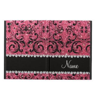 Custom name black fuchsia pink glitter damask