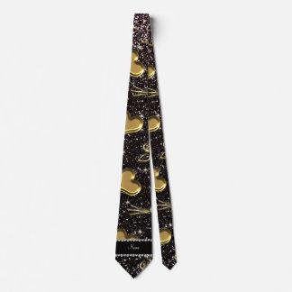 Custom name black glitter gold roses hearts tie