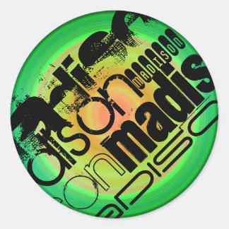 Custom Name; Black, Green & Peach Radial Design Round Sticker