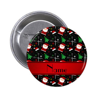 Custom name black lacrosse christmas pattern 6 cm round badge