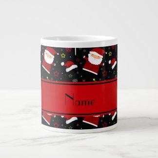Custom name black lacrosse christmas pattern large coffee mug