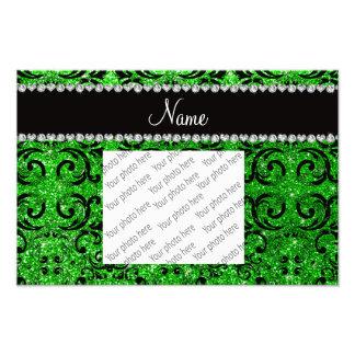 Custom name black lime green glitter damask photo art