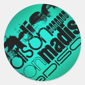 Custom Name; Black &  Neon Aqua Turquoise Round Sticker