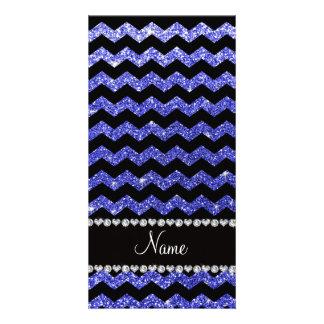 Custom name black neon blue glitter chevrons picture card