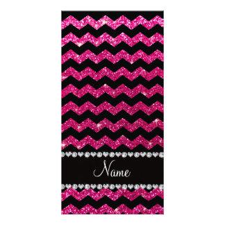 Custom name black neon hot pink glitter chevrons photo card