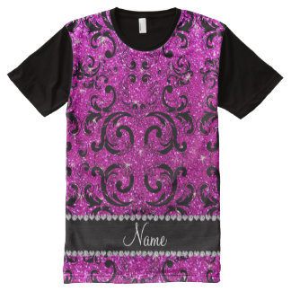 Custom name black neon pink glitter damask All-Over print T-Shirt