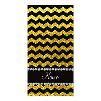 Custom name black neon yellow glitter chevrons photo card template