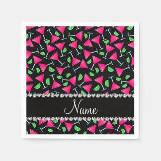 Custom name black pink cosmos limes standard cocktail napkin