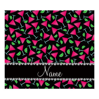 Custom name black pink cosmos limes poster