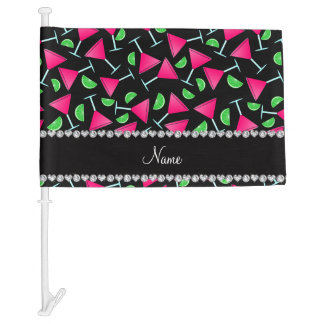 Custom name black pink cosmos limes car flag