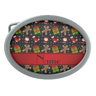 Custom name black santas gingerbread belt buckle
