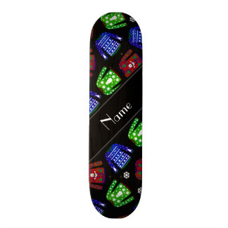 Custom name black ugly christmas sweater pattern skateboards