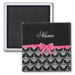 Custom name black white damask pink glitter bow