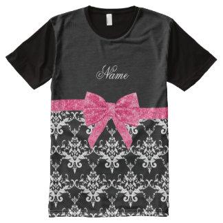 Custom name black white damask pink glitter bow All-Over print T-Shirt