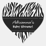 Custom Name Black White Zebra Baby Shower Heart