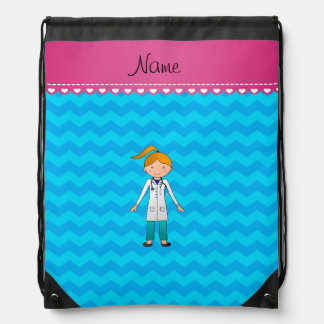 Custom name blonde girl doctor sky blue chevrons drawstring bag