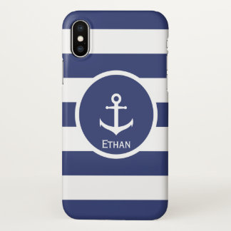 Custom Name Blue and White Nautical Phone Case