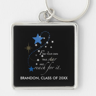 Custom Name Blue Brandon, Class of, Graduation Sta Key Ring