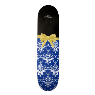 Custom name blue damask gold glitter bow skateboards
