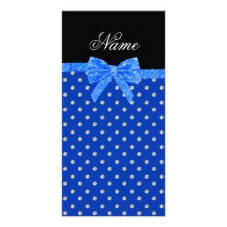 Custom name blue diamonds glitter bow picture card