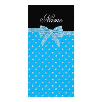 Custom name blue diamonds glitter bow photo greeting card