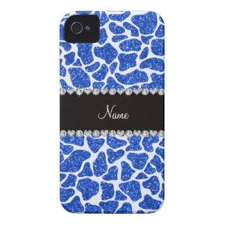 Custom name blue glitter giraffe print iPhone 4 Case-Mate case