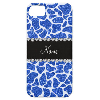 Custom name blue glitter giraffe print iPhone 5 case