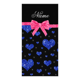 Custom name blue glitter hearts pink bow photo cards