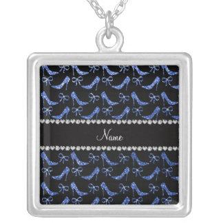 Custom name blue glitter high heels bow custom necklace