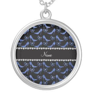 Custom name blue glitter high heels bow jewelry