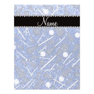 Custom name blue glitter lacrosse sticks full color flyer