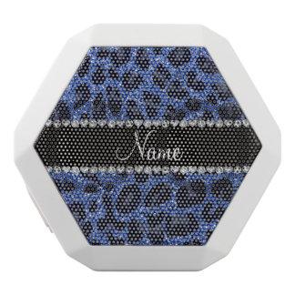 Custom name blue glitter leopard print