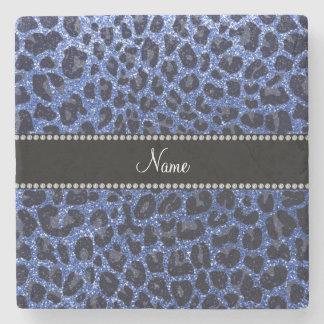 Custom name blue glitter leopard print stone coaster