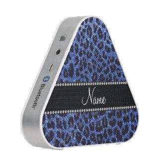 Custom name blue glitter leopard print speaker