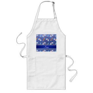 Custom name blue glitter nurse hats heart long apron