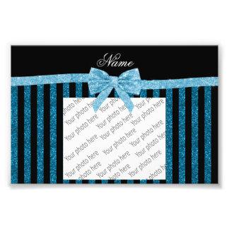 Custom name blue glitter stripes glitter bow photo print