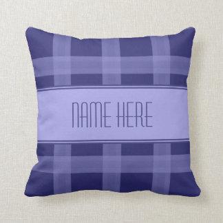 Custom Name Blue Plaid Throw Pillow Cushion
